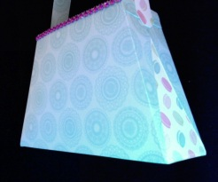 "Bella Purse Blue and Pink 7"" x 4.5"" x 2"" $35.00"
