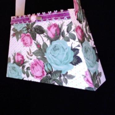"""Bella Purse Pink & Aqua Roses 7"""" x 4.5"""" x 2"""" $25.00"""