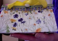 "SOLD Felicity Purse Blue Floral 7"" x 4"" x 3.5"" 25.00"
