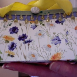 "SOLD Felicity Purse Blue Floral 7"" x 4"" x 3.5"" 25.00"