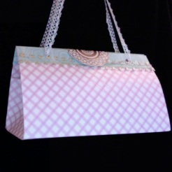 "SOLD Felicity Purse Pink Diamonds 7"" x 4"" x 3.5"" $25.00"