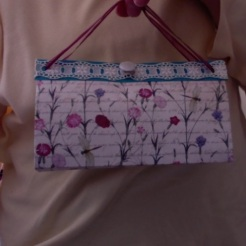 "SOLD Felicity Purse Pink Floral 7"" x 4"" x 3.5"" $25.00"