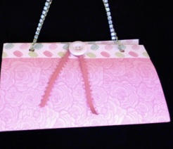 """SOLD Felicity Purse Pink Roses 7"""" x 4"""" x 3.5"""" $25.00"""