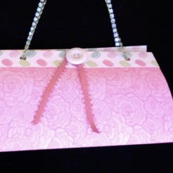 "SOLD Felicity Purse Pink Roses 7"" x 4"" x 3.5"" $25.00"