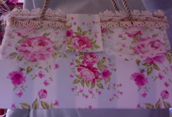 "Felicity Purse Roses and Stripes 7"" x 4"" x 3.5"" $25.00"
