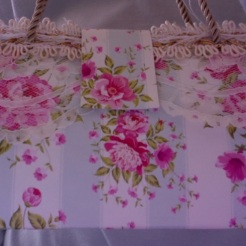 "Felicity Purse Roses and Stripes 7"" x 4"" x 3.5"" $35.00"