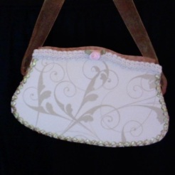 "SOLD Art Deco Purse Pink & Gold 7"" x 4"" X 1.5"" $20.00"