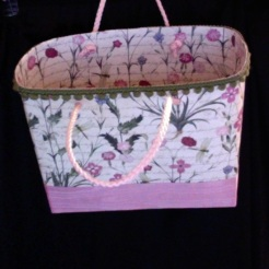"SOLD Lisette Tote Pink Floral 7"" x 6"" x 3"" $44.00"