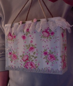 "SOLD Lisette Tote Roses and Stripes 7"" x 6"" x 3"" $44.00"
