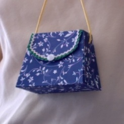 "SOLD Miranda Purse Blue Floral 3.5"" x 2.5"" x 1.75"" $10.00"
