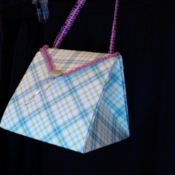 "SOLD Arielle Purse Blue Plaid 4"" x 4"" x 3.5"" $26.00"