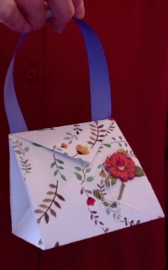 "Arielle Purse Red Flower 4"" x 4"" x 3.5"" $20.00"