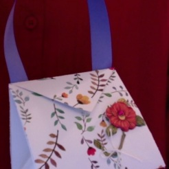 "Arielle Purse Red Flower 4"" x 4"" x 3.5"" $26.00"