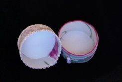 "SOLD Small Trinket Box 3.25"" diameter x 3"" high $25.00"