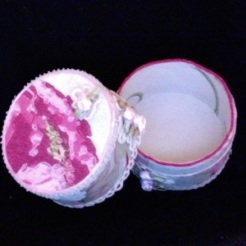 "Small Trinket Box 3.25"" diameter x 3"" high $25.00"
