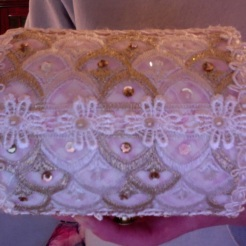"SOLD Jewelry Box Pink & Lace 5.5"" x 4"" diameter $25.00"