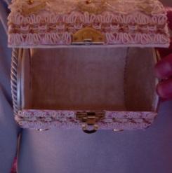 "SOLD Jewelry Box Pink & Lace 5.5"" x 4"" diameter $25.00"