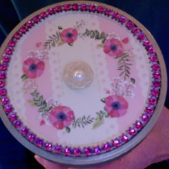 "Boudoir Cannister Pink & Silver 5.5"" x 4"" diameter $26.00"