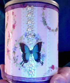"Boudoir Cannister Pink & Silver 5.5"" x 4"" diameter $25.00"