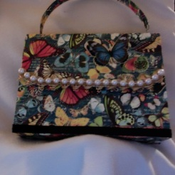 "SOLD Helena Purse Butterflies 7"" x 5.5"" x 2"" $35.00"