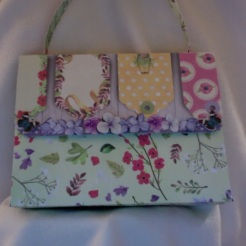 "SOLD Helena Purse Green Garden 7"" x 5.5"" x 2"" $35.00"