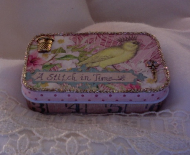 SOLD Stitch in Time Sewing Kit 3.75″ x 2.25″ x 1″ $20.00
