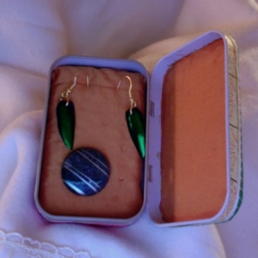 SOLD Travel Earring Box 3.75″ x 2.25″ x 1″ $20.00
