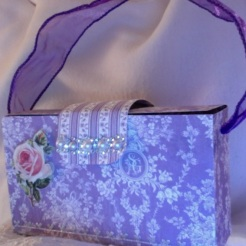 "Gina Purse Purple Lace 6"" x 3.5"" x 2"" $35.00"