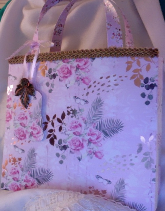 "Ginger Tote Pink Roses & Copper Leaves 8.5"" x 7.5"" x 2"" $35.00"