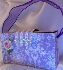 Gina Purse Purple Lace 6″ x 3.5″ x 2″ $35.00