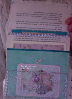 Green and pink book page pocket