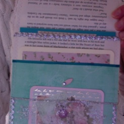 Green and pink book page pocket $26.00