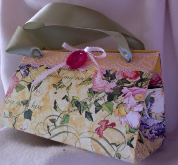 "Felicity Purse Yellow Flowers 7"" x 4"" x 3.5"" $35.00"