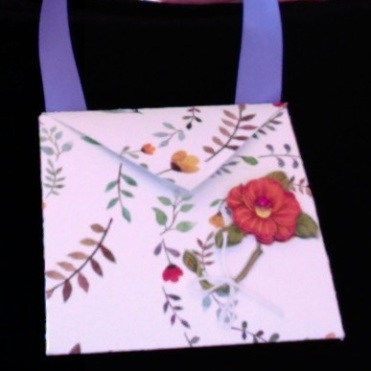 "Arielle Purse Red Flower 4"" x 4"" x 3.5"" $26.00"