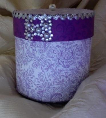 "Round Trinket Box Purple Passion 3.75"" x 3.5"" diameter $26.00"