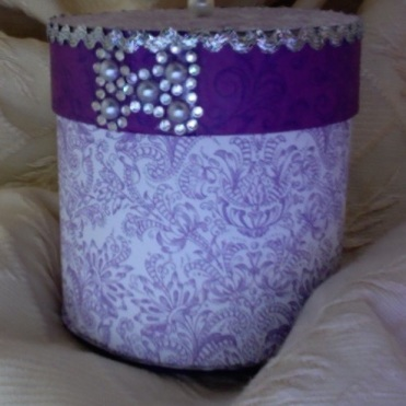 "SOLD Round Trinket Box Purple Passion 3.75"" x 3.5"" diameter $26.00"