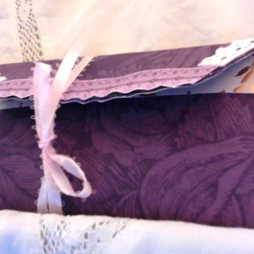 "Paper Bag Clutch and Journal: Plum 6.75"" x 3"" $35.00"