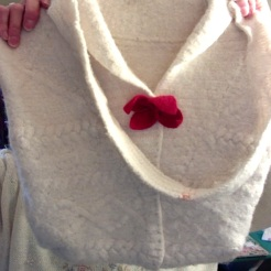 White Felted Sweater Bag $35.00