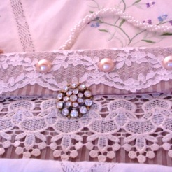 "Lace and Pearl Clutch 9.25"" x 4.5"" $35.00"