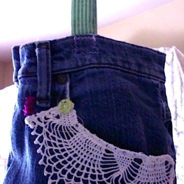 """Denim and Lace Bag 8"""" x 10.5"""" x 2"""" $44.00"""