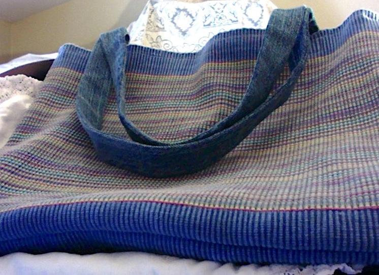 """Blue Striped Tote Bag 15"""" x 12"""" $44.00"""